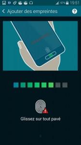 Samsung Galaxy S5 capture lecteur empreinte digitale