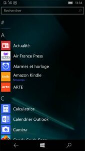 Test Lumia 950 capture d'écran liste des apps