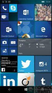 Test Lumia 950 capture d'écran panneau home
